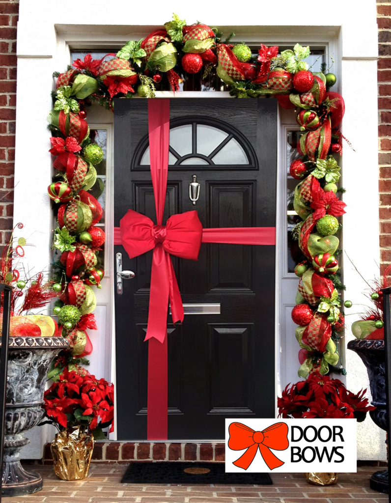Door Bow Decoration Kit - Red Padded Satin Bow