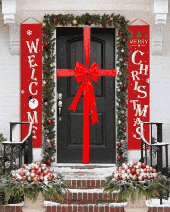 Red Padded Satin Bow Decorating Kit For Christmas