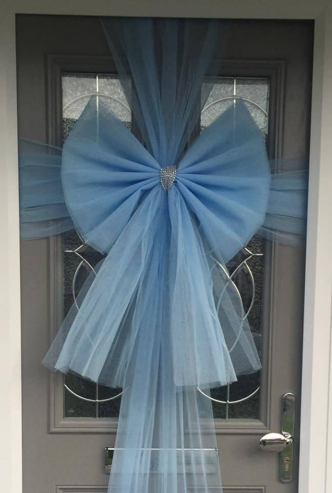 Door Bow Decoration Baby Blue Christmas Door Bows