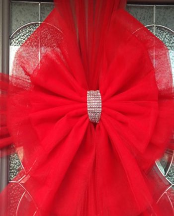 Red Deluxe Door Bow Diamante Centre