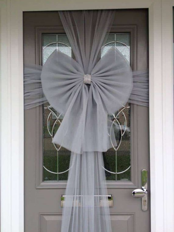 Silver Christmas Door Bow Next Day Delivery