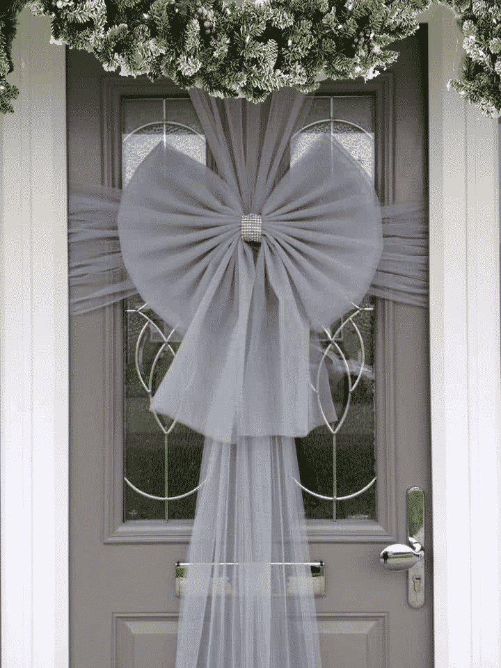 Silver Door Bow Decoration Kit - Christmas Door Bows
