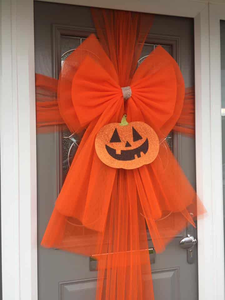 Halloween Pumpkin Orange Deluxe Door Bow