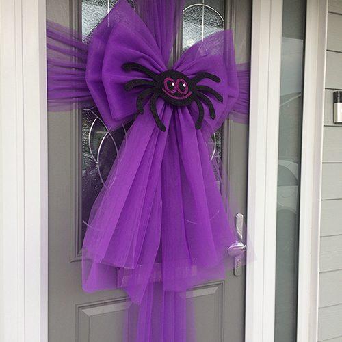 Halloween Spider Purple Deluxe Door Bow