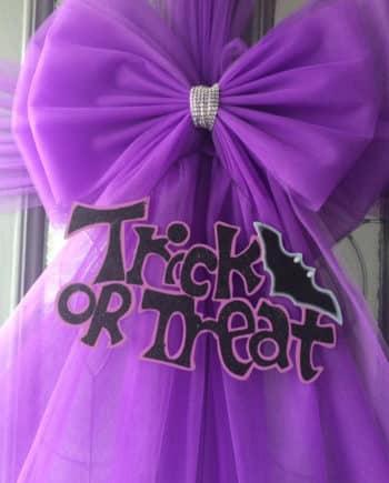 Halloween Trick or Treat Purple Deluxe Door Bow