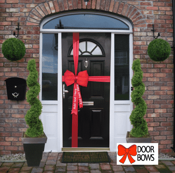 Red Satin Padded Door Bow Decorating Pack with personalised tails