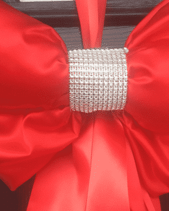 Red Satin Door Bow with Diamante Centre