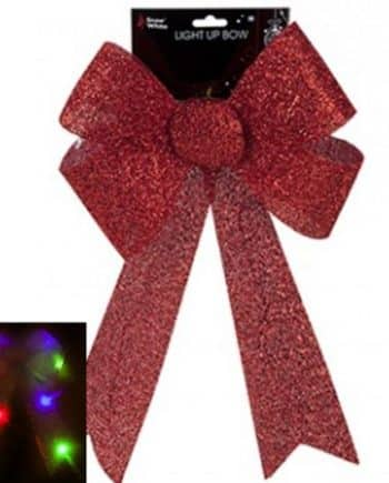 Giant Light Up Red Tinsel Bow