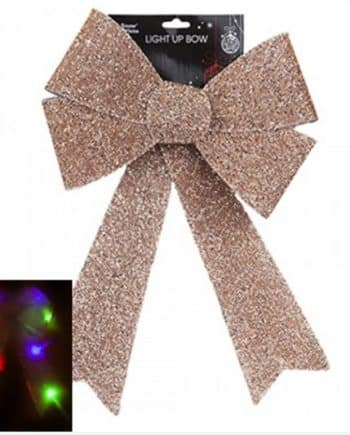 Giant Light Up Rose Gold Tinsel Bow