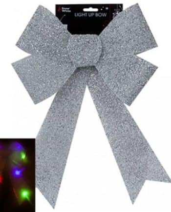 Giant Light Up Silver Tinsel Bow