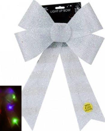 Giant Light Up White Tinsel Bow