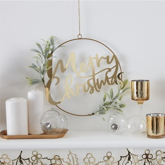 Gold Glitter Merry Christmas Foliage Hanging Hoop Wreath