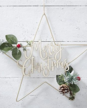 Gold Metal Merry Christmas Star Wreath
