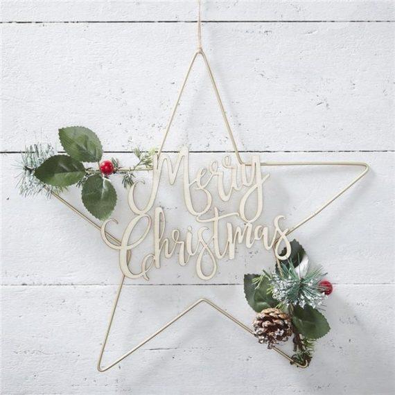 Gold Metal Merry Christmas Star Wreath
