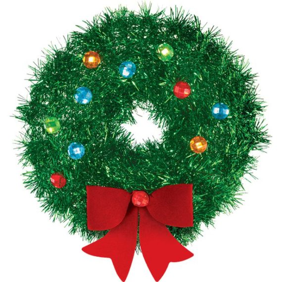 Tinsel Wreath with Bow